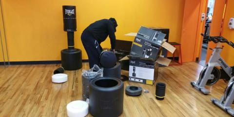 Christmas came early this year. Unwrapping new equipment, Kickboxing classes coming soon., Brooklyn, New York