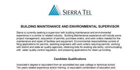 Job Opening for Building Maintenance and Environmental Supervisor  , Mariposa, California