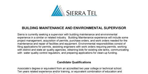 Job Opening for Building Maintenance and Environmental Supervisor  , Oakhurst-North Fork, California
