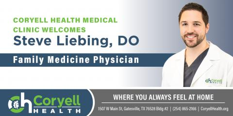 Coryell Health Welcomes Primary Care Physician, Gatesville, Texas