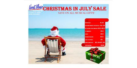 Christmas in July Sale At Hurst Music Company, Lexington-Fayette, Kentucky