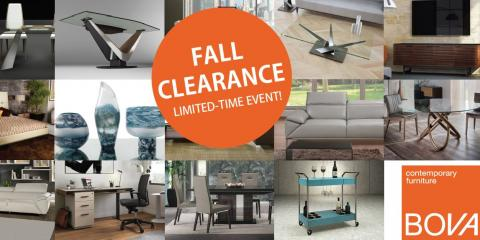 Fall Clearance Sale at BOVA Contemporary Furniture, Symmes, Ohio