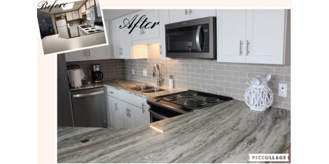 Our customer added a high gloss tile back splash to complete this kitchen remodel., Foley, Alabama