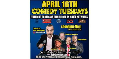 Whitestone Bowling Lanes Comedy Tuesdays. Come Laugh and Play at Strikes Cocktail and Cafe., Queens, New York