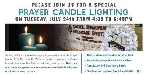 CMHS Hosts Community Prayer Candle Ceremony, Gatesville, Texas