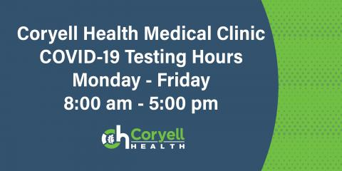 Coryell Health COVID-19 Testing Hours Update, Gatesville, Texas