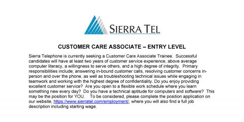 Sierra Tel has jobs open in Customer Care, Mariposa, California