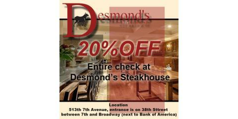 Take 20% off check at Desmond's Steakhouse in Midtown NYC, Manhattan, New York