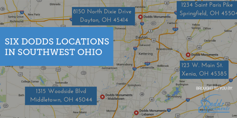 6 Convenient Locations Make Dodds Monuments Ohio's Largest Memorial Company, Middletown, Ohio