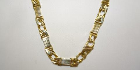 "Unique 14k Curb & Bar Link 20"" Necklace, Greece, New York"