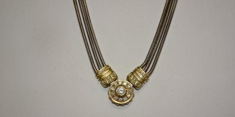 Beautiful Gold Diamond Necklace, Greece, New York