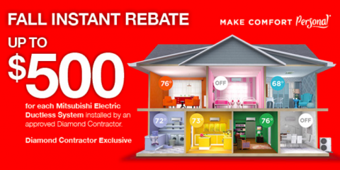 $500 Off Mitsubishi Electric® Ductless Heating System!, Chesterfield, New Jersey