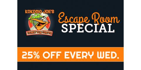 25% Off Escape Rooms Wednesdays at Kokomo Joe's, St. Peters, Missouri
