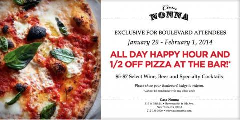 Super Bowl Blvd. Attendees Dining at Restaurant Casa Nonna Enjoy Happy Hour, Every Hour & 1/2 Off Pizza!, Manhattan, New York