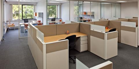 Use office furniture to create an open floor plan concept for Office design open concept