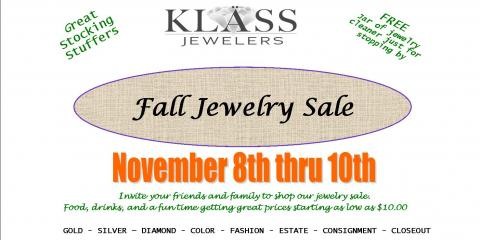 Klass Jewelers-Fall Sale Nov 8-10, Florence, Kentucky