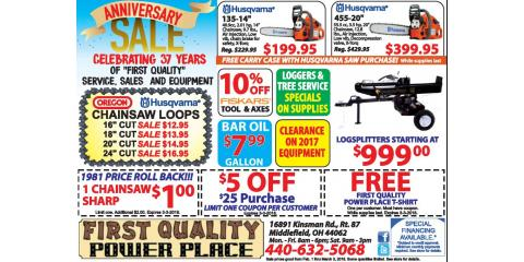 First Quality Power Place Anniversary Sale!, Middlefield, Ohio