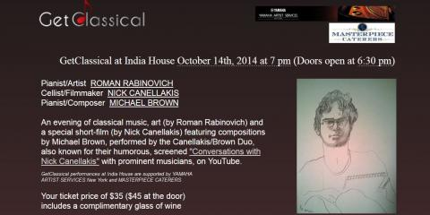 Masterpiece Caterers Invites NYC to GetClassical at India House on October 14th! , Manhattan, New York
