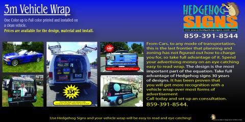 Advertise Your Business in Motion With Car Wraps From Hedgehog Signs!, Fort Thomas, Kentucky