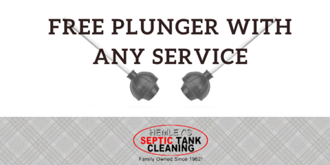 Free Plunger with Service from Hemley's Septic Tank Cleaning, Gig Harbor Peninsula, Washington