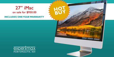 "27"" iMac 2.9GHz i5 – $950 at Experimax Portsmouth, Portsmouth, New Hampshire"