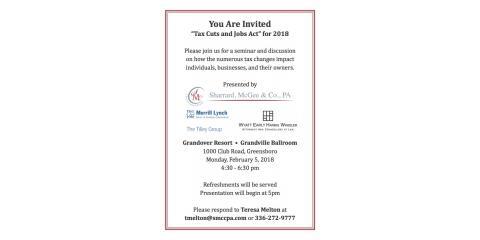 Sharrard, McGee & Co., PA Co-Sponsors Tax Seminar Feb 5, Greensboro, North Carolina