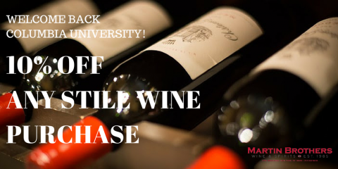 10% Off Wine to Columbia University Students & Faculty, Manhattan, New York