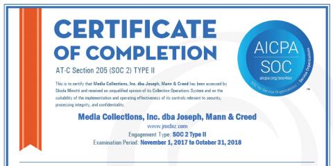 Joseph, Mann & Creed Successfully Completes SOC 2 Type 2 Audit, Twinsburg, Ohio