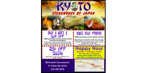 Buy 1 Get 1 50% Off | Kyoto Steakhouse of Japan , St. Peters, Missouri