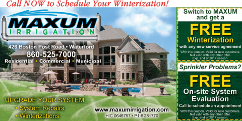 Get a Free Lawn Winterization When You Switch to Maxum, Waterford, Connecticut