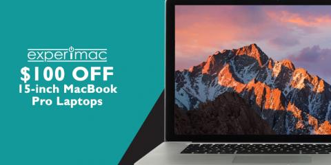 $100 OFF 15-inch MacBook® Pro Laptops at Experimac Avon, Avon, Indiana