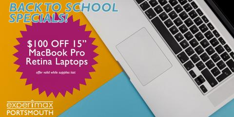 """Back To School Offer - $100 OFF 15"""" MacBook Pro Retina!, Portsmouth, New Hampshire"""