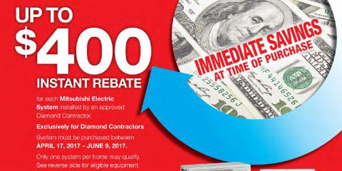 Get a $400 Rebate on a System From Mitsubishi Electric!, Brookhaven, New York