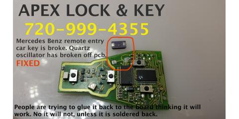APEX Denver Locksmith will REPAIR Keyless Entry Alarm Remote, South Aurora, Colorado