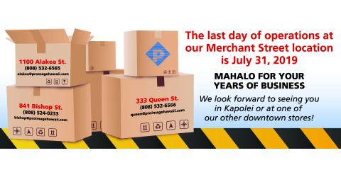 Our Merchant St. Location is Moving!, Honolulu, Hawaii