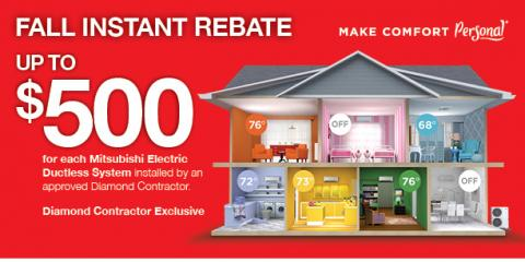 $500 Instant Rebate on Mitsubishi Cooling & Heating Systems, Oyster Bay, New York