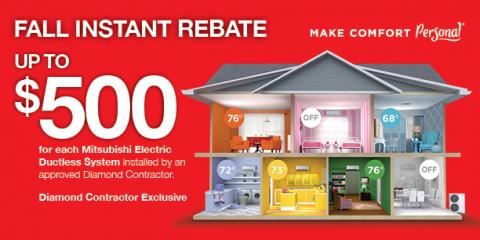 Instant Rebate: Up to $500 on Mitsubishi® Electric Systems, Ramtown, New Jersey