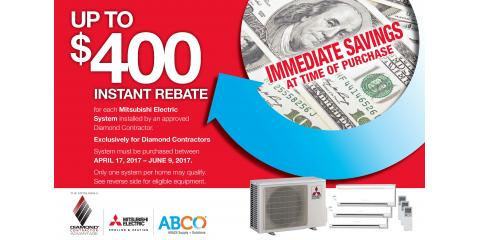 Earn Up to $400 Back on a New Mitsubishi Electric AC System!, Hanson, Massachusetts