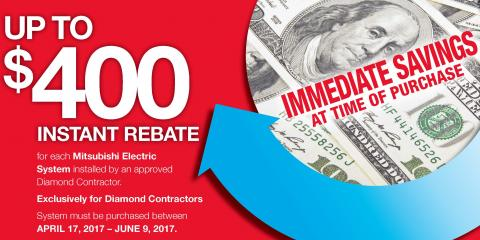 Get a $400 Instant Rebate on a Mitsubishi® Electric System, Monroe, New York
