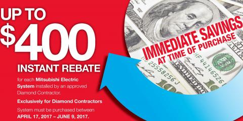 Instant Rebate on New Mitsubishi Electric Systems!, Brookhaven, New York
