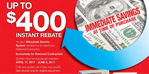 Receive a $400 Instant Rebate on a Mitsubishi Electric AC!, New Milford, Connecticut