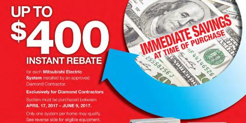 $400 Rebate on Mitsubishi® Electric Air Conditioning Systems, Monroe, Connecticut