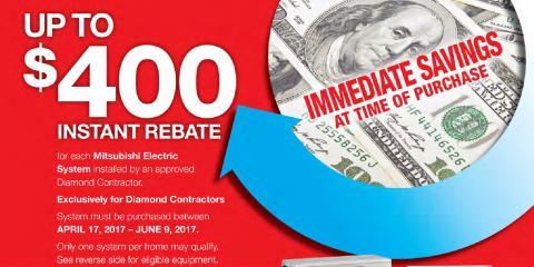 Save $400 on a New Mitsubishi Electric AC System!, Hanson, Massachusetts