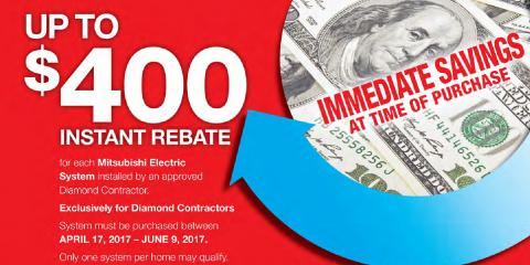 Rebates on Mitsubishi Electric Air Conditioning Systems , Toughkenamon, Pennsylvania