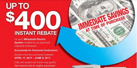 Instant $400 Rebate on Mitsubishi Electric AC Systems, North Hempstead, New York