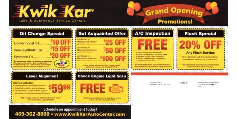 Kwik Kar Auto Center at Warren and Legacy in Frisco, Frisco, Texas
