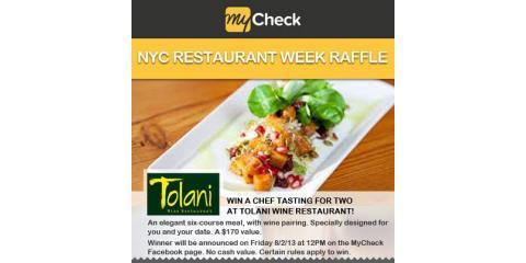 It's NYC Restaurant Week 2013: Enter MyCheck's Raffle to Win a Chef Tasting For Two at Tolani Wine Restaurant!, Manhattan, New York