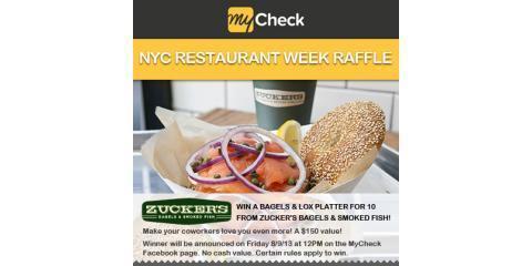 It's NYC Restaurant Week 2013: Enter MyCheck's Raffle to Win a Bagel & Lox Platter From Zucker's Bagels & Smoked Fish , Manhattan, New York