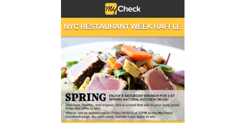NYC Restaurant Week 2013: Enter MyCheck's Raffle to Win Organic Saturday Brunch For Two at Spring Natural Kitchen!, Manhattan, New York