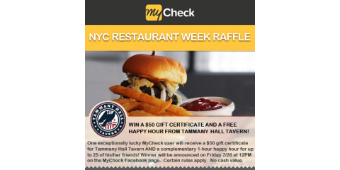 Celebrate NYC Restaurant Week with MyCheck: Enter to Win $50 Gift Certificate & Free Happy Hour from Tammany Hall Tavern, Manhattan, New York